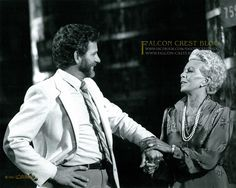 """www.falcon-crest.blogspot.com / www.facebook.com/falconcrestblog Falcon Crest Photo of the Week! Lana Turner & Robert Foxworth fooling around Episode #024 (2x06) """"Home Away From Home"""" ©1982 Lorimar ☞ Please share with your friends, like and comment ☜ #falconcrest #soapoperas #80s #tvshows"""