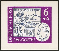 6.24.50 and 84 Pfg Goethe, essays to the Goethe issue, bicolored in lilac and gray, complete set without gum as issued, mint never hinged superb, signed.    Dealer  Auction house Ulrich Felzmann    Auction  Minimum Bid:  100.00EUR