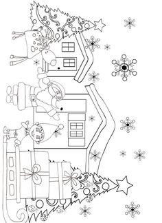 Coloriage du Père Noël et son lutin à côté de son traîneau dessin 35