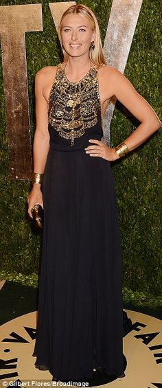 Maria Sharapova looked lovely in a black and gold dress