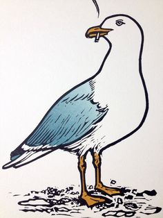 Smoking Seagull - Linocut by Linocut Boy, Nick Morley