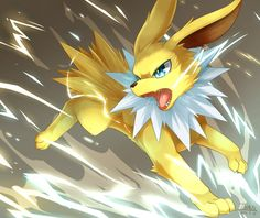 Jolteon Question of the day: What is your favorite pokemon type? Pokemon Pins, Pokemon Fan Art, All Pokemon, Cute Pokemon, Pikachu Art, Cosplay Pokemon, Pokemon Eeveelutions, Eevee Evolutions, Pokemon Pictures
