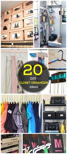 20 Idéias Closet DIY Organização para a casa |  DIY Ideas armário de armazenamento para pequenos espaços