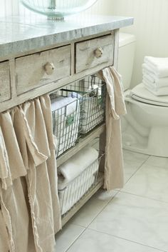 Washcloth and hand towel storage! Love the curtain idea to hide everything! We n… - pool towel Pool Towel Storage, Pool Towels, Bathroom Storage, Bathroom Ideas, Sink Skirt, Table Storage, Storage Ideas, Smart Storage, Storage Solutions