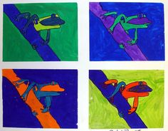 excellent description on how to do Andy lesson: Andy Warhol Color Theory Animals Art Lessons For Kids, Art For Kids, School Lessons, 4th Grade Art, Fourth Grade, Acrylic Painting For Kids, Library Art, Middle School Art, Art Programs