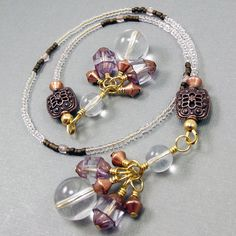 Beaded Bookmark / Bookthong Copper & Mauve by BrossARTaddiction, $18.75