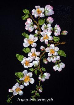 Apple blossom #ribbonEmbroidery
