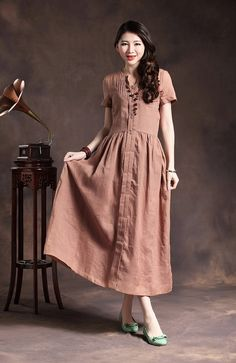 Hey, I found this really awesome Etsy listing at https://www.etsy.com/listing/130849287/long-linen-dress-in-pink-pleated-formal