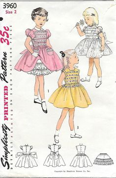 Simplicity 3960 - 1950s Girls Dress and Petticoat Sewing Pattern Size 2 Full Skirts Puffed Sleeves