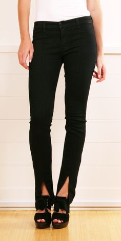 Although these are shop bought J.BRAND jeans, this would be so easy to create & add a new twist to #upcycled bootlegs