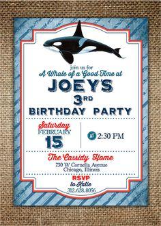 Children's Birthday Invitation  Whale Design by BrownDogPress, $18.00