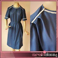 Vintage 1970s Secretary Polka Dot Navy Wrap Over Sweet Little Dress - UK10