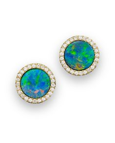 Diamond-embellished blue opal stud earrings in yellow gold by Meira T. Black Opal Jewelry, Black Opal Ring, Blue Opal, Blue Gold, Luna Skye Jewelry, Cute Jewelry, Jewlery, Opal Earrings, Diamond Studs