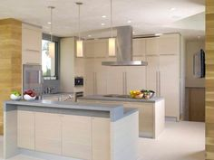 Kitchen: Kitchen With Ultra Contemporary Devices. kitchen stove hoods. ceiling mount range hood. modern kitchen. soft kitchen cabinet. subtle kitchen island. pendant light.