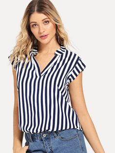 Shop V Neckline Striped Blouse online. SHEIN offers V Neckline Striped Blouse & more to fit your fashionable needs. Blue And White Shorts, Blue And White Blouses, White Short Sleeve Blouse, Short Women Fashion, Blouse Online, How To Roll Sleeves, Look Cool, Pulls, Blouse Designs