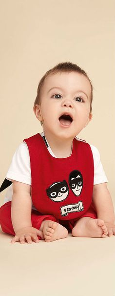 So Cute! Love this Dolce Gabbana Baby Boy Red Superhero DG Family Outfit with a Cape for Summer 2018! #dgfamily #dolcegabbana #baby #boy #kidsfashion