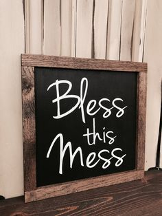Bless this Mess- Christian Wall Art Sign- Farmhouse Style Decor- Rustic Home Decor - Farmhouse Sign- Rustic Farmhouse Wall Decor - Farmhouse by RedRoanSigns on Etsy