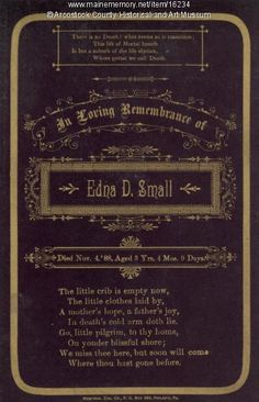 Edna Small Remembrance Card, Houlton, 1888. Item # 16234 on Maine Memory Network