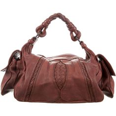 Pre-owned Bottega Veneta Intrecciato-Trimmed Hobo Bag (570 AUD) ❤ liked on Polyvore featuring bags, handbags, shoulder bags, brown, leather hobo purses, brown shoulder bag, red leather purse, leather handbags and leather shoulder handbags