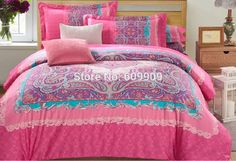 Bohemian Bedding Set Boho Style Paisley Bedding  Moroccan Bed Set  Rose Pink  Duvet Cover Set 100% Brushed Cotton 007
