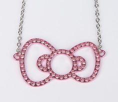 Hello Kitty Ribbon Necklace: Pink Rhinestone