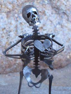 Zombie Skeleton Take My Heart Metal Sculpture by zedszombieranch. $55.00, via Etsy.