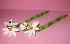 Handmade Daisey Bee Polymer Clay Hair Sticks