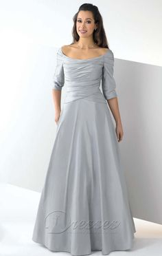 Classic A-line Floor-length Off The Shoulder Silver Satin Dress