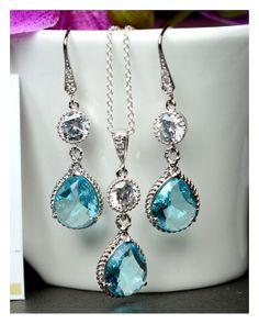 Bridal Drop Bridal Jewelry Wedding Dangle Teal by thefabwedding2, $59.99