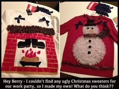 DIY ugly Christmas sweaters - could easily do the one on the right Thomas Thomas Herron Smith Diy Ugly Christmas Sweater, Ugly Xmas Sweater, Xmas Sweaters, Tacky Christmas Party, Winter Christmas, Thanksgiving Holiday, Christmas Time, Christmas Ideas, Ugly Sweater Contest