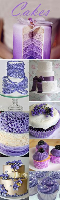Such pretty cakes. I love the top one for the girls. Wedding Themes, Wedding Blog, Our Wedding, Dream Wedding, Wedding Ideas, Wedding Candy, Pretty Cakes, Beautiful Cakes, Purple Wedding