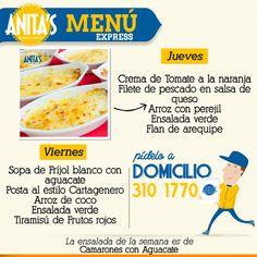Ven a nuestro restaurante a probar lo que nuestra chef Anita Botero ha diseñado especialmente para ti. #MenúExpress #AnitasExpress