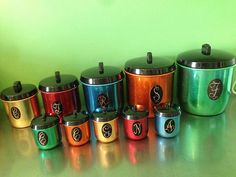 Retro Vintage Anodised Jason Canister SET Matching Spice Canisters Harlequin