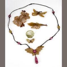 Elizabeth Bonté, Paris a Carved Horn and Paste Pendant Necklace