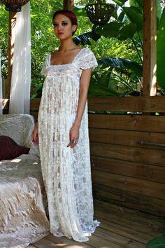 Sheer Lace Bridal Nightgown Wedding Lingerie Romance Boudoir Honeymoon Off  Shoulder Drop Cap Sleeve Sleepwear ade47abc4