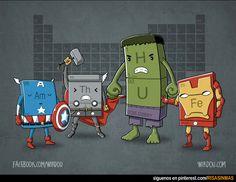 Los vengadores químicos. Capitán América, símbolo químico con el número 95: Americio. Thor, símbolo químico con el número 90: Torio. Hulk, símbolo químico 1: Hidrógeno más el número 92: Uranio. Iron Man, símbolo químico 26: Hierro.