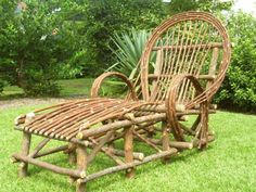 Chaise Lounge Chair - Log Cabin Furniture - Twig Native Wild Willow from South Carolina