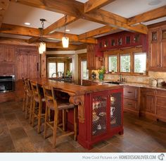 kitchen-stunning-rustic-kitchen-decoration-with-bar-wood-kitchen-island-with-wood-seating-wood-kitchen-island-and-visible-beam-wood-ceiling-mind-blowing-kitchen-island-with-seating-for-kitchen-decora. Rustic Kitchen Island, Rustic Kitchen Cabinets, Rustic Kitchen Design, Kitchen Island With Seating, Primitive Kitchen, Kitchen Island Lighting, Wooden Kitchen, Kitchen Islands, Rustic Backsplash