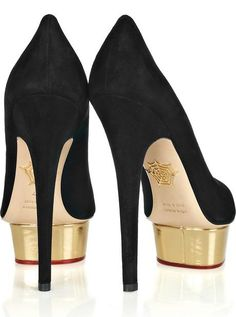 charlotte olympia dolly pumps in black suede with gold patent platform. #shoeporn #1000heels