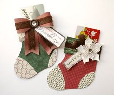 Stocking gift card holders.