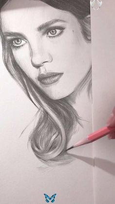Drawing of a portrait of Natalia Vodianova. Work in progress. 23 minutes of drawing in 41 seconds of time lapse video<br> Realistic Pencil Drawings, Pencil Art Drawings, Art Drawings Sketches, Pencil Portrait Drawing, Drawing Portraits, Portrait Sketches, Portrait Art, Beautiful Drawings, Beautiful Pictures