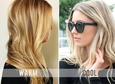 """Warm tones are gold, orange, & red. They reflect light & look rich. Best suited for those with peachy or pink undertones in their skin. Cool tones are blue, green, & occasionally violet (*violet is made up of red but it can lean on the bluer side thus being a cooler violet*). Cool tones look best on skin that has yellow or olive undertones. """"Ash"""" is often referred to as cool but leans more on the green side."""