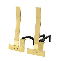 Pair of Andirons in Polished Brass by Danny Alessandro
