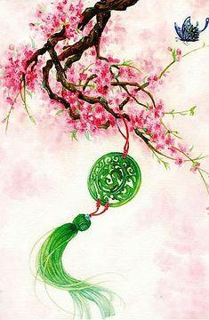 梦幻唯美 插画手绘 古风古典古韵 桃花 意境 一瓣心香,桃花红了谁。一笑回眸,尘缘醉…