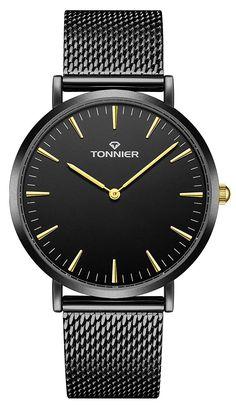 aed9fc0c43f Tonnier Stainless Steel Slim Men Watch Quartz Watch Black Face