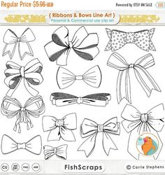 SALE Ribbons & Bows Line Art Tied Bow ClipArt Hand by FishScraps