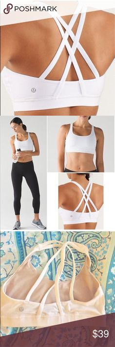 *REPOST* Lululemon Energy Sports Bra Size 4, strappy backed sports bra! Nice supportive fit, great condition, mesh inside lululemon athletica Tops