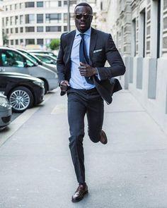 Sleek dark grey suit