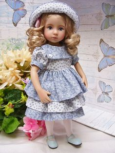 "PDF Pattern for 13"" Effner Little Darling, Ruffled Dress and Hat"