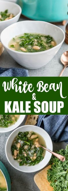 Jump-start your healthful eating habits with my easy White Bean and Kale Soup. It only takes 4 ingredients and 30 minutes! Jump-start your healthful eating habits with my easy White Bean and Kale Soup. It only takes 4 ingredients and 30 minutes! Kale Soup Recipes, Bean Recipes, Healthy Recipes, Dinner Recipes, Heart Healthy Soup, Kale Vegetable, Veggie Food, White Bean Kale Soup, White Beans